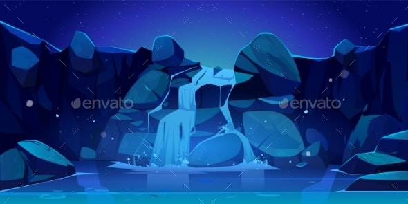 Vector Cartoon Waterfall and Rocks at Night - Landscapes Nature