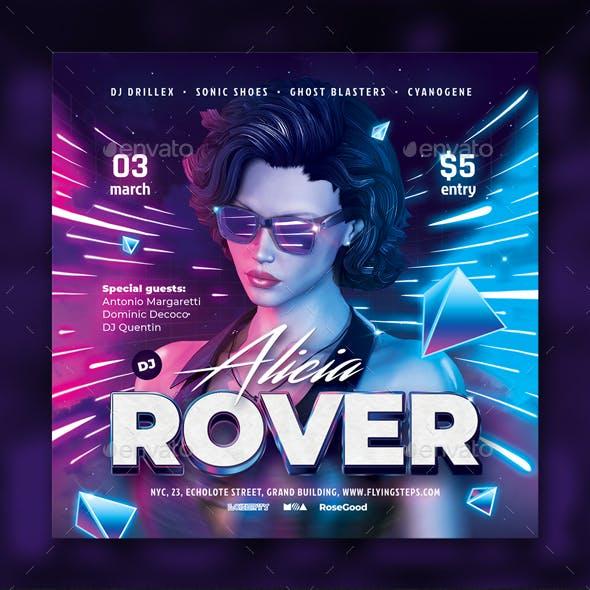 Party Flyer DJ Neon Template