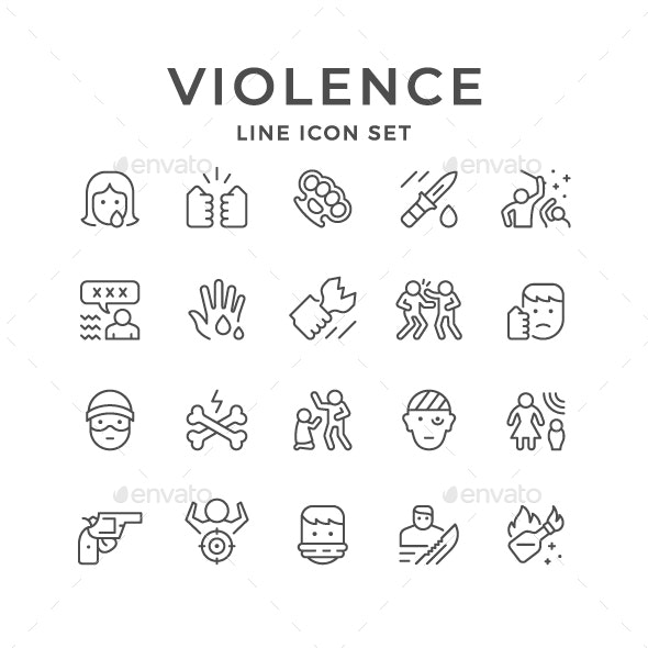 Set Line Icons of Violence - Man-made objects Objects