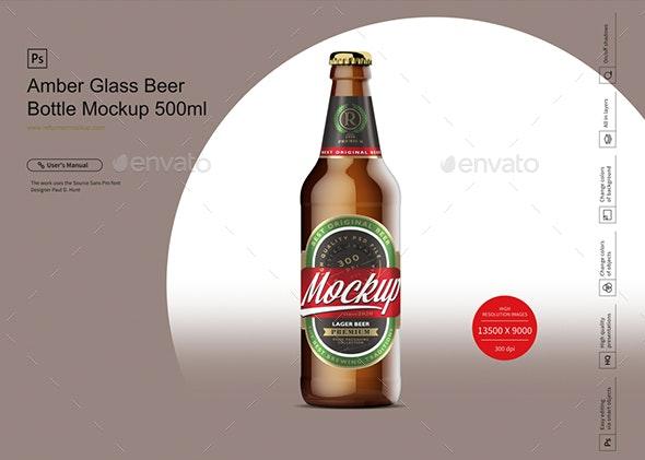 Amber Glass Beer Bottle Mockup 500ml - Product Mock-Ups Graphics
