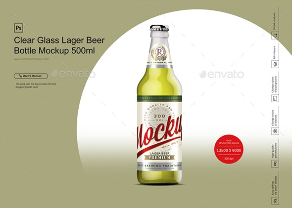 Clear Glass Lager Beer Bottle Mockup 500ml - Product Mock-Ups Graphics