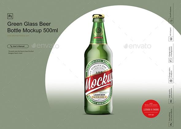Green Glass Beer Bottle Mockup 500ml - Product Mock-Ups Graphics