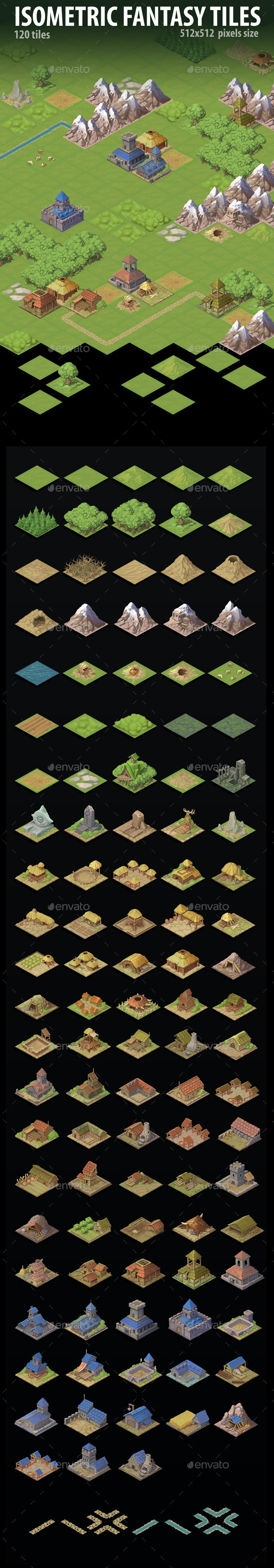 Isometric Fantasy Tiles - Tilesets Game Assets