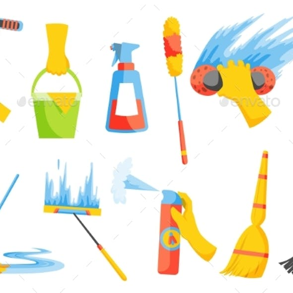 Vector of Domestic Housework Household Cleaning