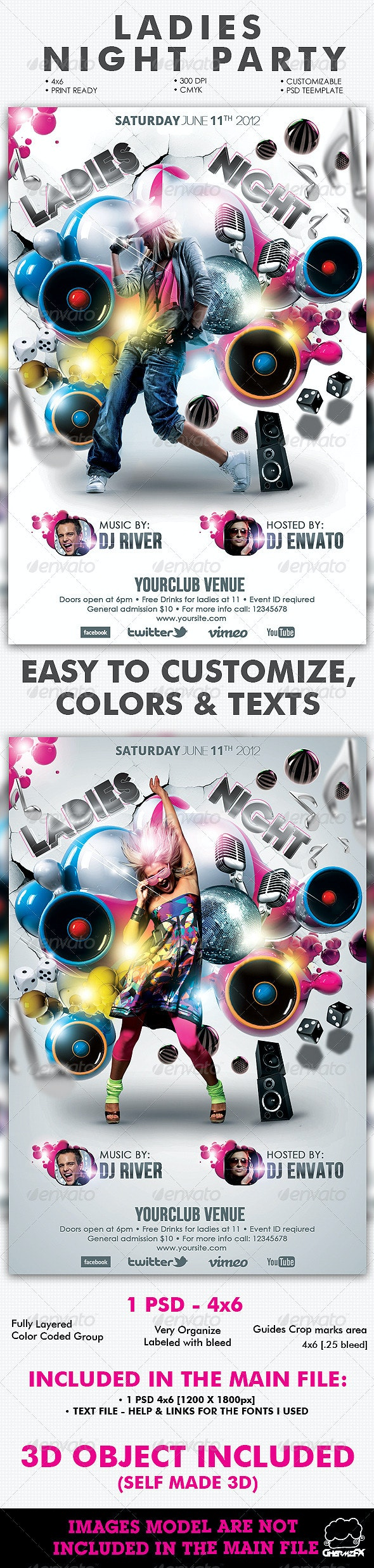 Ladies Night Party Flyer Template - Flyers Print Templates