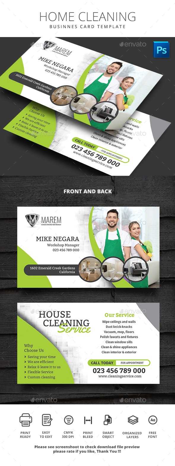 Home Cleaning Business Card - Business Cards Print Templates