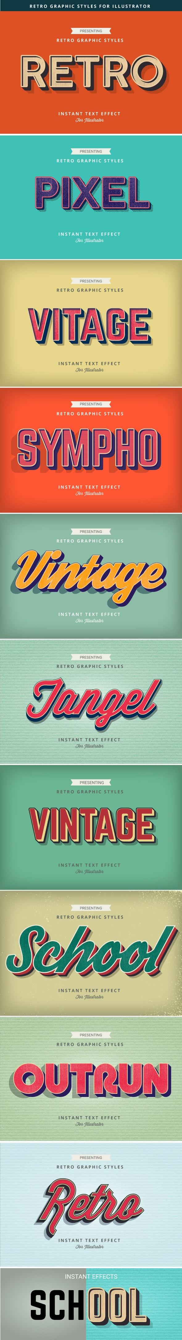 Retro Vintage Text Effects - Styles Illustrator
