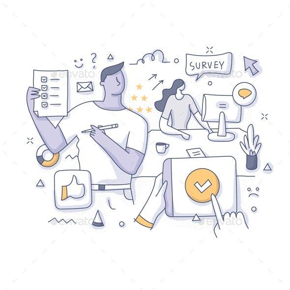 Customer Online Survey Concept Doodle Illustration