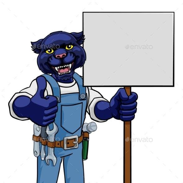 Panther Construction Cartoon Mascot Handyman