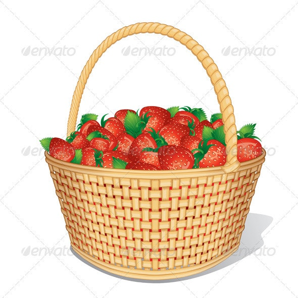 Vector Strawberry Basket - Food Objects