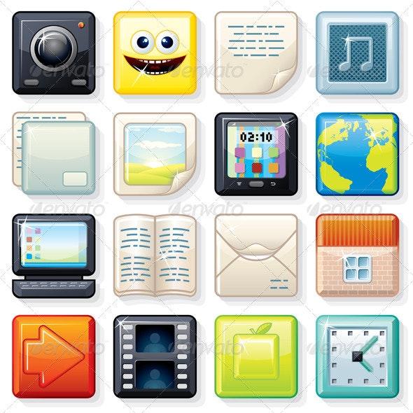Square Menu Illustrations - Web Elements Vectors