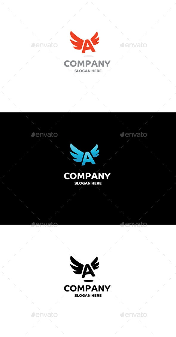 Letter A with Wings - Letters Logo Templates