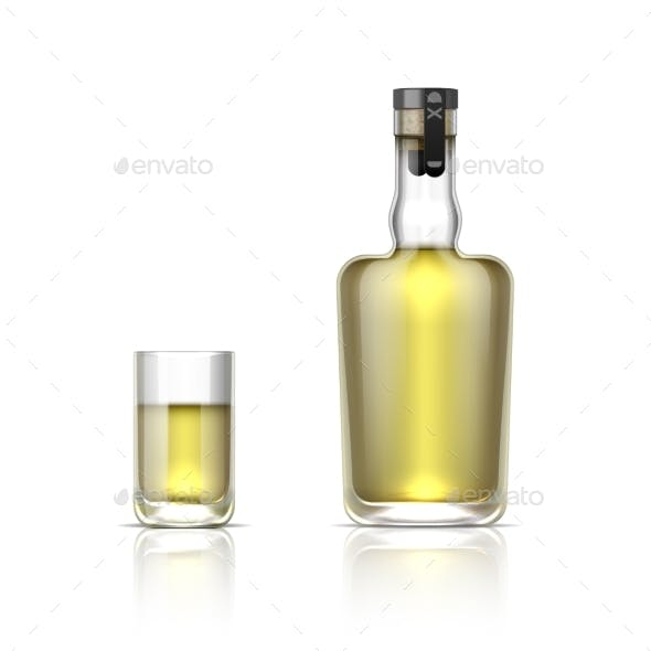 Realistic Alcohol Bottle and Shot Glass