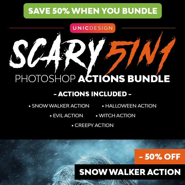 Scary 5in1 Photoshop Actions Bundle