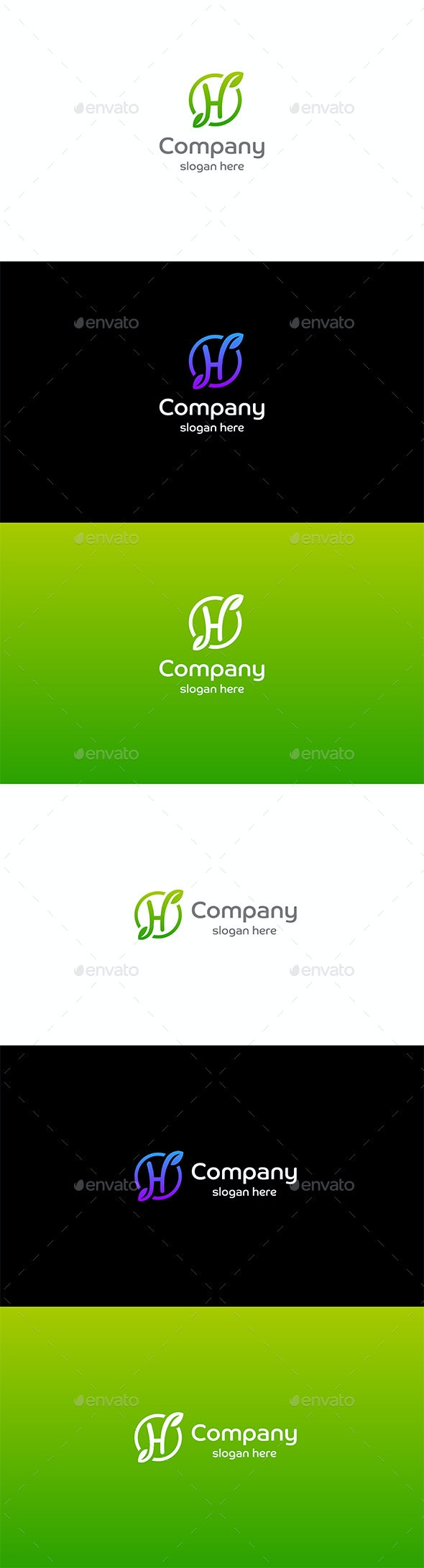 H Letter with Leaves Logo - Letters Logo Templates