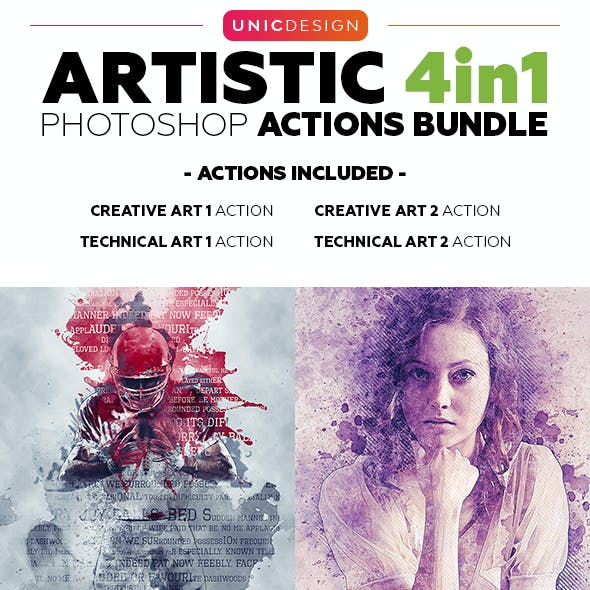 Artistic 4in1 Photoshop Actions Bundle