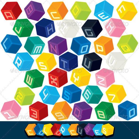 Colored Alphabet Cubes - Decorative Symbols Decorative
