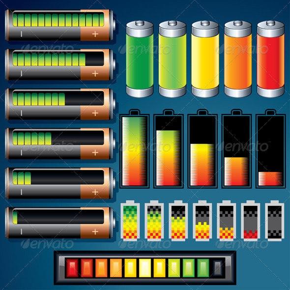 Vector Batteries - Objects Vectors