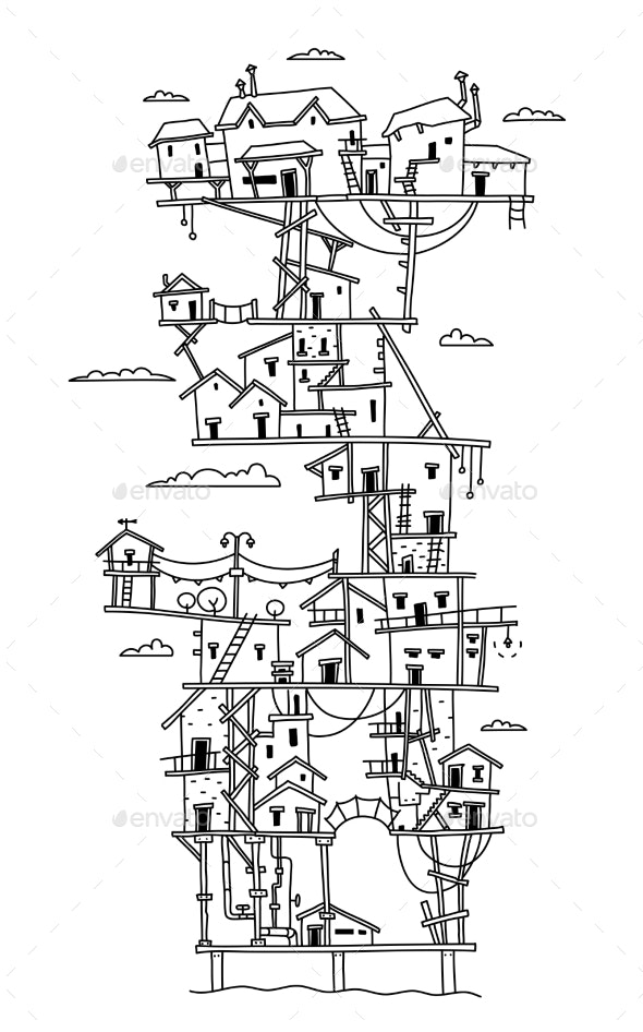 Freehand Drawing Fantasy Multilevel Bungalow - Buildings Objects