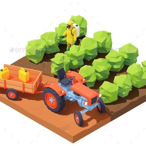 Vector Isometric Farmer Spraying Pesticides