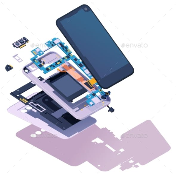 Vector Isometric Disassembled Smartphone