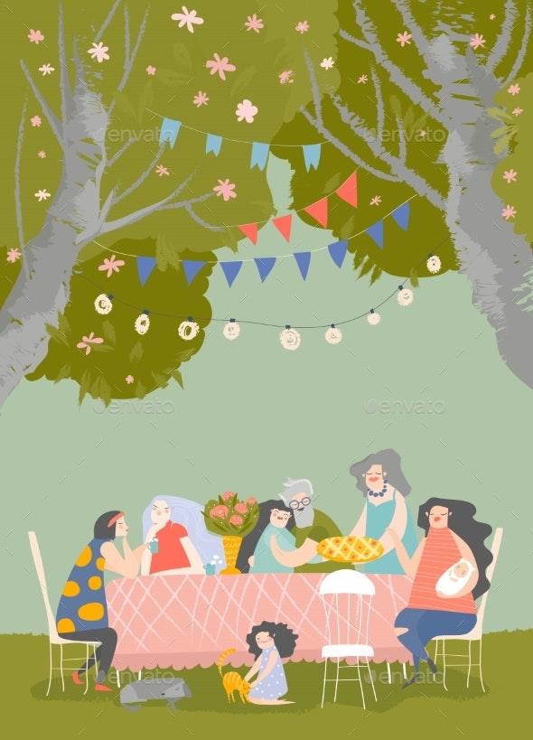 Cartoon Happy Family Having Dinner in Blossom - Landscapes Nature