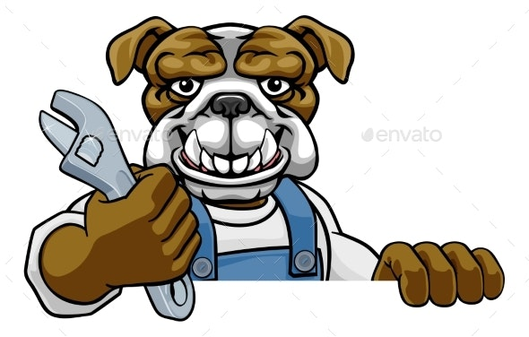 Bulldog Plumber or Mechanic Holding Spanner - Animals Characters