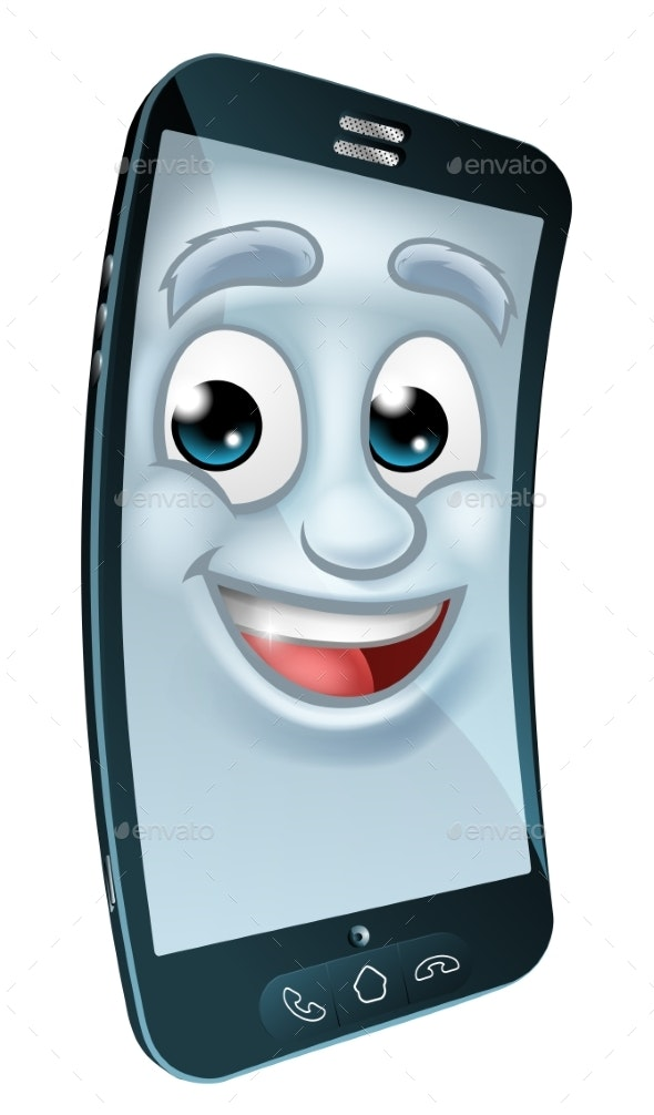 Cell Mobile Phone Mascot Cartoon Character - Miscellaneous Characters