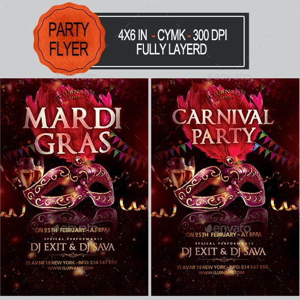 Carnival Mardi Gras Flyer
