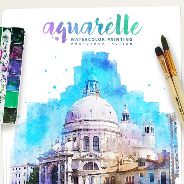 Aquarelle - Watercolor Painting Photoshop Action
