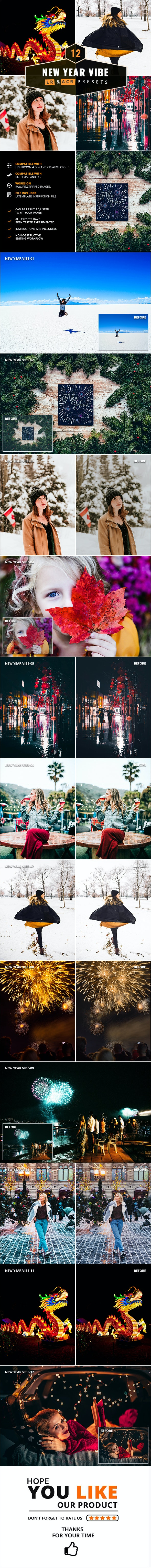 12 New Year Vibe Lightroom & Camera RAW Presets - Lightroom Presets Add-ons