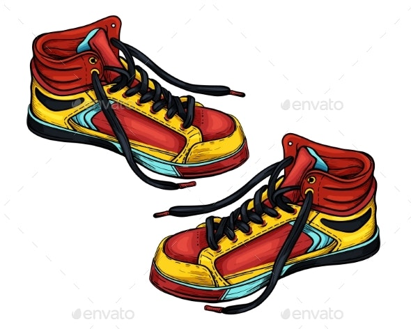 Sneakers Red Yellow - Man-made Objects Objects