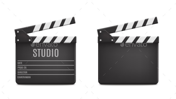Vector Realistic Opened Movie Film Clap Board - Media Technology