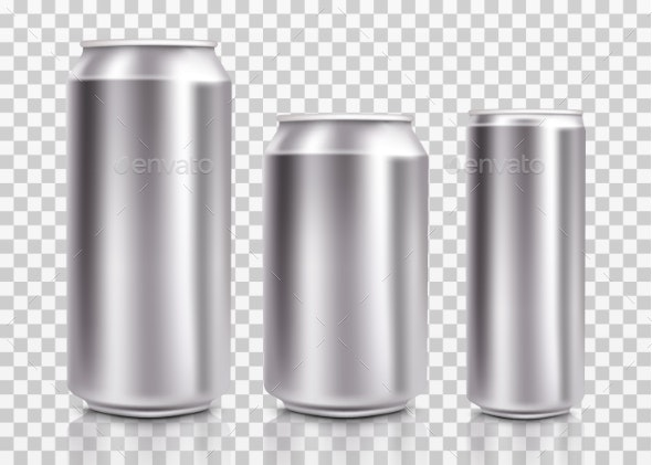 Realistic Metal Cans. Aluminum Bear Soda and - Man-made Objects Objects