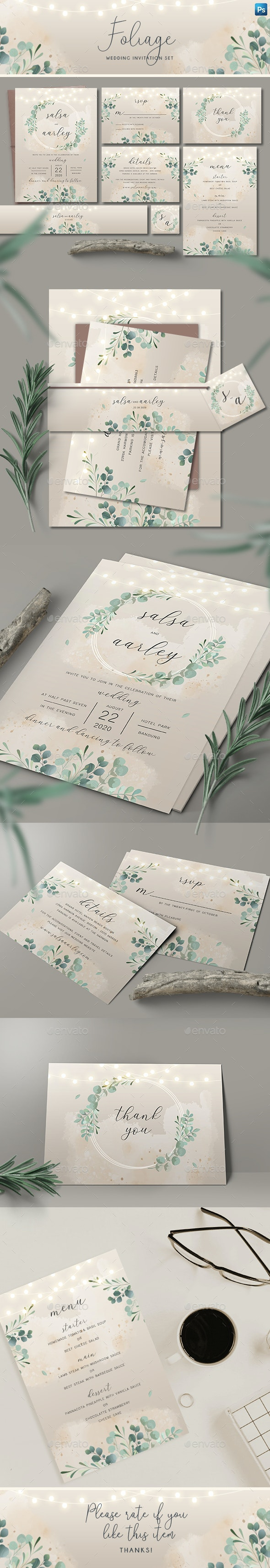 Foliage Wedding Invitation Set - Weddings Cards & Invites