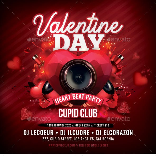 Valentine Day Heart Beat Party Flyer