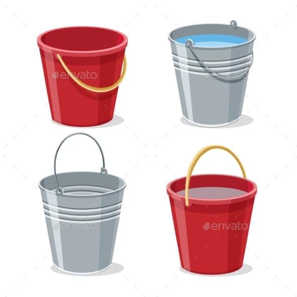Full and Empty Gardening Buckets - Miscellaneous Vectors
