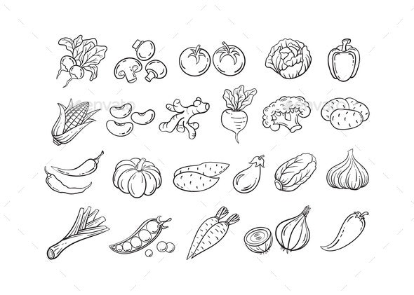 Hand Drawn Black Line Vegetable Icon Vector Set - Food Objects