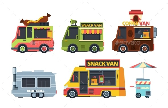 Food Truck Colorful Flat Vector Illustrations Set - Food Objects