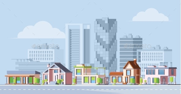 Urban City Landscape Colorful Flat Vector - Buildings Objects