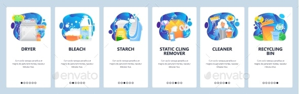 Mobile App Onboarding Screens House Cleaning - Web Elements Vectors