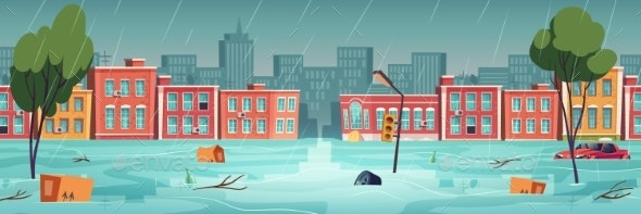 Flood in Town - Buildings Objects