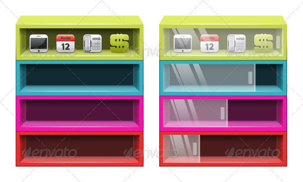 Color shelves - Objects Vectors