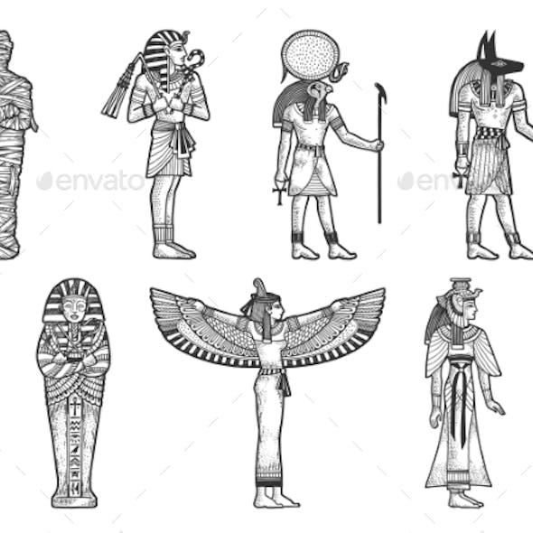 Ancient Egyptian Set Sketch Vector Illustration