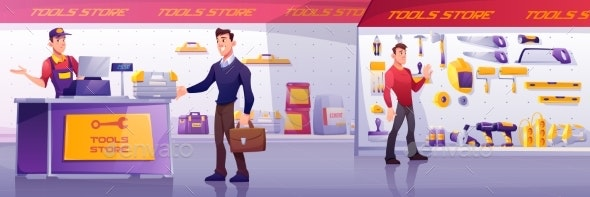 Customers and Salesman in Construction Tool Store - Commercial / Shopping Conceptual