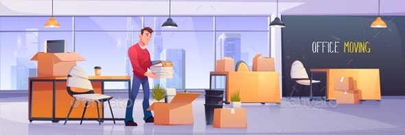 Office Moving Manager Folds Documents in Boxes - People Characters