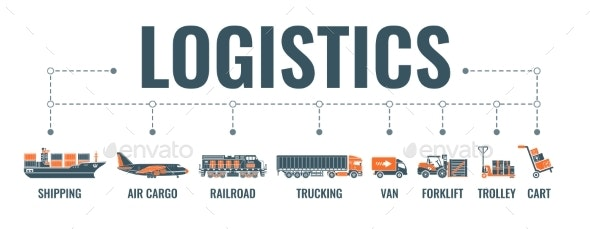 Shipping and Logistics Banner - Miscellaneous Vectors