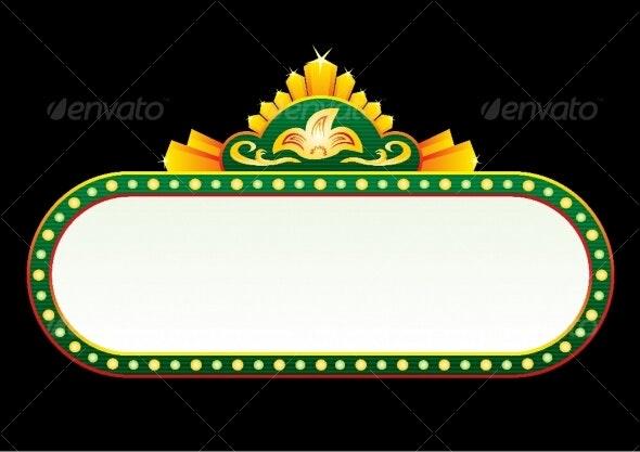 Gold on green neon - Decorative Symbols Decorative
