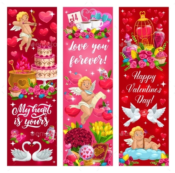 Valentine Day Love Hearts Flowers and Angels - Valentines Seasons/Holidays