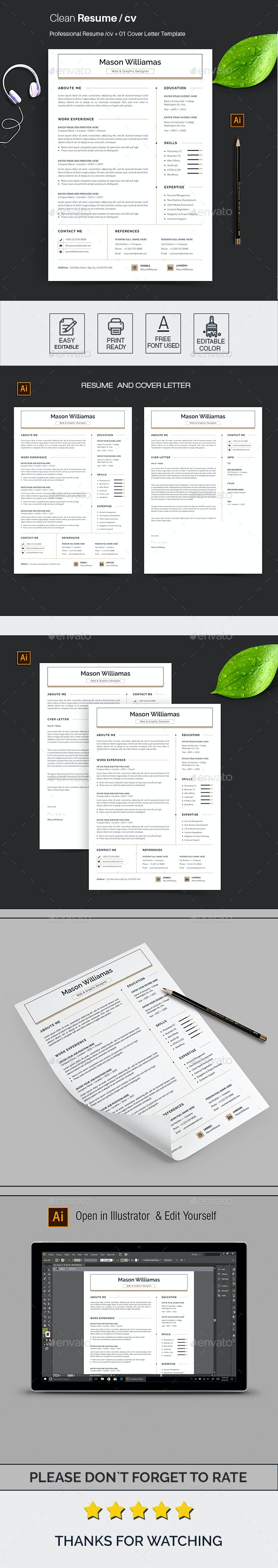Clean Resume/CV & Cover Letter - Resumes Stationery